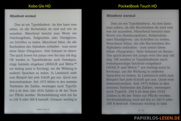 Displayvergleich bei maximaler Helligkeit: Kobo Glo HD und PocketBook Touch HD