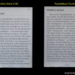 Displayvergleich bei maximaler Helligkeit: Tolino Shine 2 HD und PocketBook Touch HD