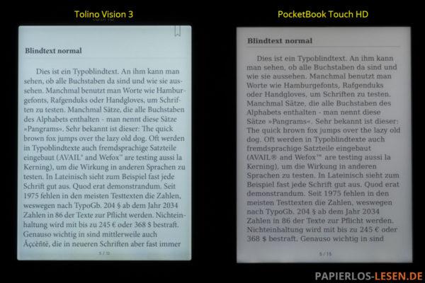 Displayvergleich bei maximaler Helligkeit: Tolino Vision 3 HD und PocketBook Touch HD