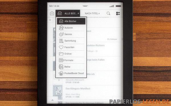 Bibliothek mit umfangreichen Filter- und Sortiermöglichkeiten