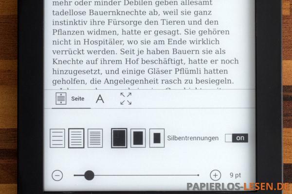 Texteinstellungen: Seite
