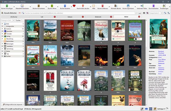 Hauptfenster von Calibre mit Schlagwort-Browser, Coveransicht und Buchdetails