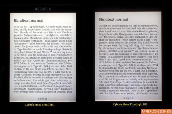 Beleuchtungsvergleich Muse Frontlight und Muse Frontlight HD (gut sichtbar die Verarbeitungsschwächen des Muse Frontlight links)