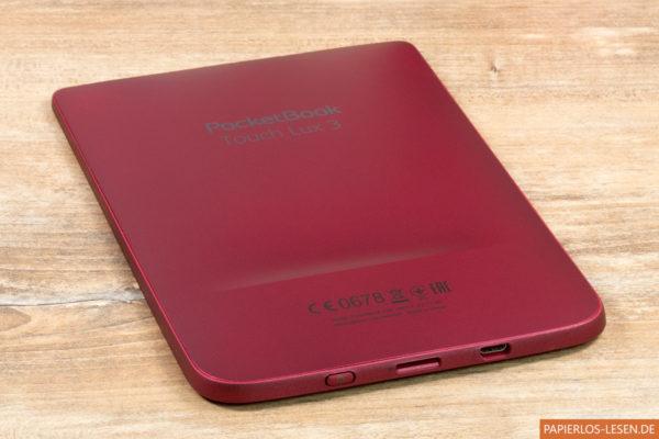 Rückseite und Unterseite mit Einschalter, USB-Anschluss und Einschub für die Micro-SD