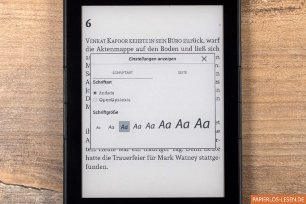 Texteinstellungen im eBook
