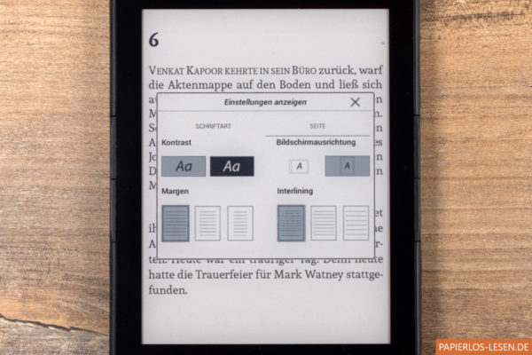 Seiteneinstellungen im eBook