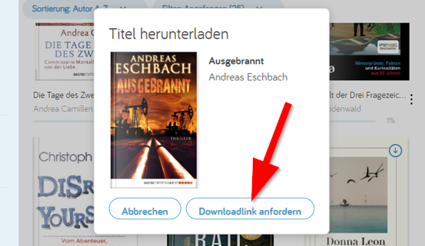 Screenshot: Downloadlink anfordern