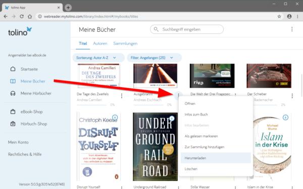"""Screenshot: Menü aufrufen und """"Download"""" wählen"""