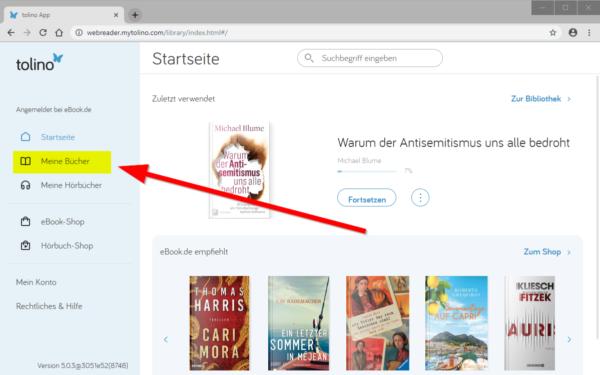 """Screenshot von: """"Meine Bücher"""" aufrufen"""