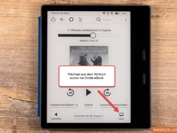 Umschaltung vom Hörbuch zum passenden eBook