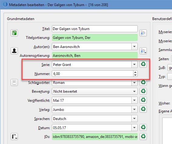 Calibre: Serieninfos in die Metadaten eintragen