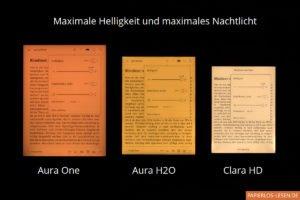 Vergleich der Nachtlichter bei Kobo Aura One, Kobo Aura H2O und Kobo Clara HD: maximale Stärke