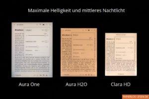 Vergleich der Nachtlichter bei Kobo Aura One, Kobo Aura H2O und Kobo Clara HD: mittlere Stärke