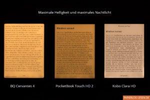 Vergleich der Nachtlichter bei BQ Cervantes 4, PocketBook Touch HD 2 und Kobo Clara HD: maximale Stärke