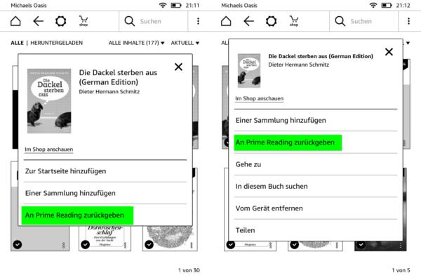 links: Aus Bibliothek zurückgeben; rechts: Auf Kindle geladenes eBook zurückgeben
