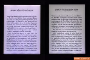 Beleuchtungsvergleich mit Text: links: Touch Lux 3, rechts: Touch Lux 4