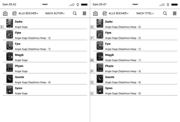 Anzeige der eBooks in der Bibliothek vor (links) und nach (rechts) dem Update der Buchstrukturen