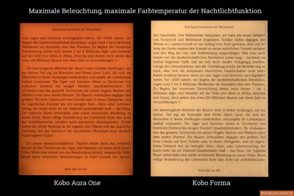 Nachtlichtvergleich Kobo Aura One und Kobo Forma