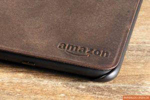 Amazonlogo auf der Premiumlederhülle