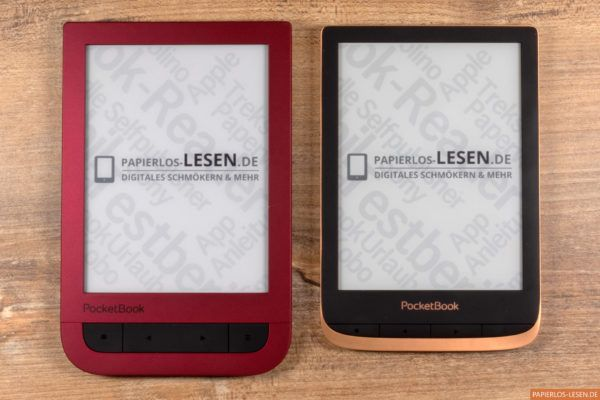 Links: PocketBook Touch Hd 2 in rot - rechts: PocketBook Touch HD 3