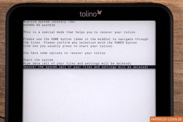 Tolino zurücksetzen