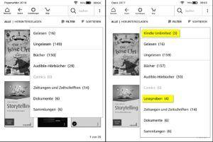 Screenshot neue Filtermöglichkeiten beim Kindle