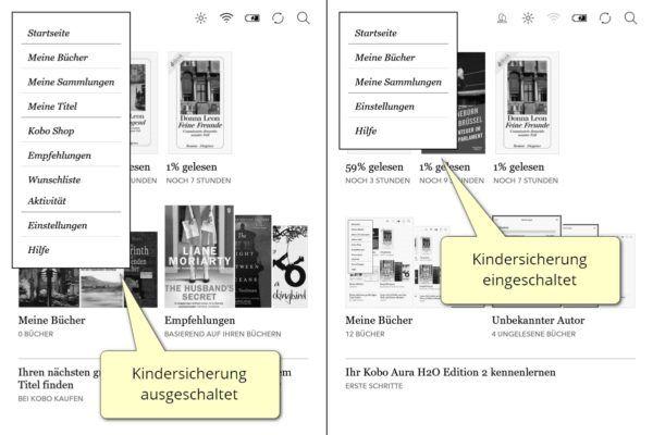 Screenshot: Menü bei aus- (links) und eingeschalteter Kindersicherung bei Kobos Firmware 4.15
