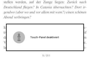 Firmware 5.20: Bestätigung, dass der Touchbildschirm deaktiviert wurde