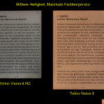 Tolino Vision 4 HD vs. Vision 5: Mittlere Helligkeit, Maximale Farbtemperatur