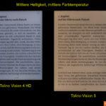 Tolino Vision 4 HD vs. Vision 5: Mittlere Helligkeit, mittlere Farbtemperatur