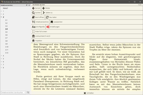 Neuer eBook-Viewer (mit Inhaltsverzeichnis und geöffneten Kontextmenü)