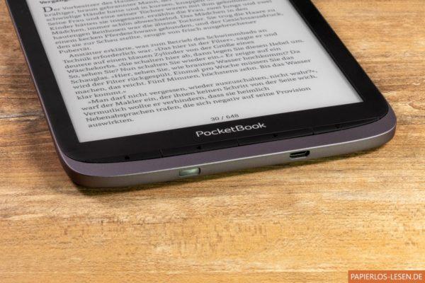 PocketBook Inkpad 3 Pro (Powerknopf unter Micro-USB-Anschluss)