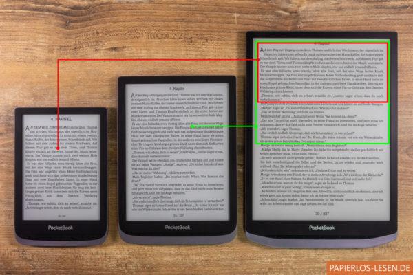 So viel Text von Touch HD 3 (links) und Inkpad 3 Pro (mitte) passt auf eine Seite des Inkpad X (rechts)