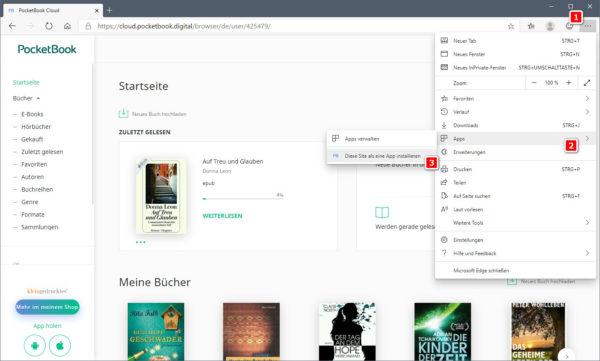 Eigene Windows-App der PocketBook-Cloud erstellen