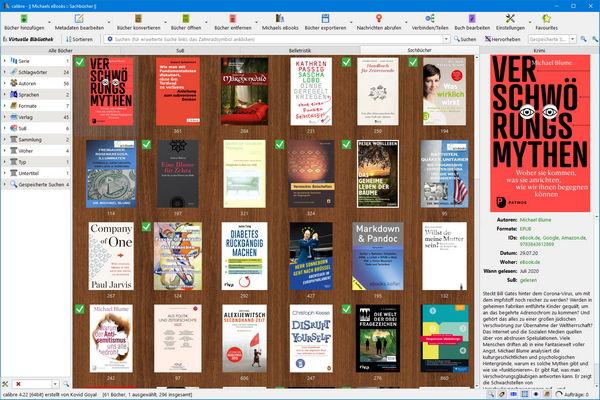 Hauptfenster von Calibre 4 mit Schlagwort-Browser, Coveransicht und Buchdetails