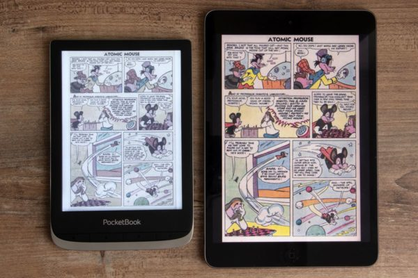 Farbvergleich PocketBook Color mit einem Tablet mit LC-Display