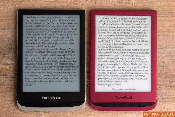 Unbeleuchtete Bildschirme: PocketBook Color (links), PocketBook Touch Lux 5 (rechts)