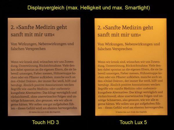 Smartlightvergleich: Touch HD 3 (links), Touch Lux 5 (rechts)