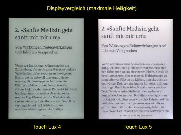 Helligkeitsvergleich: Touch Lux 4 (links), Touch Lux 5 (rechts)