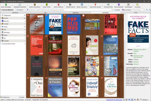 Hauptfenster von Calibre 5 mit Schlagwort-Browser, Coveransicht und Buchdetails