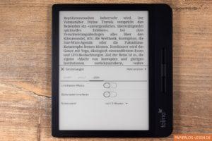 Leseeinstellungen - Umstellung des Linkshändermous (Touchzonen) und des invertierten Bildschirms