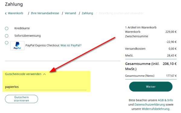 Gutscheincode im PocketBook-Shop eingeben