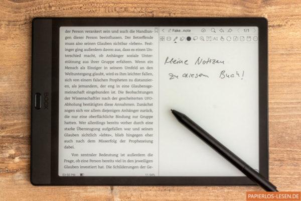 Geteilte Ansicht: links: Buch - rechts: Notiz zum Buch