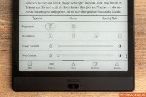 Einstellungen im eBook: Ausrichtung und Kontrast
