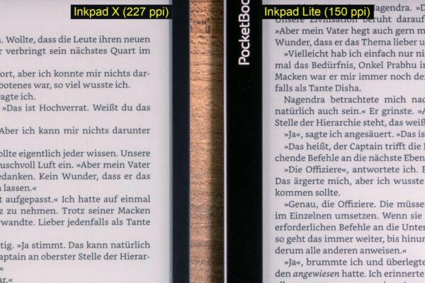 Direkter Vergleich der Displayauflösung: Inkpad X (links) und Inkpad Lite (rechts)