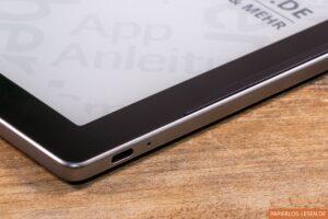 PocketBook Inkpad Lite: USB-C-Anschluss und weiße Status-LED