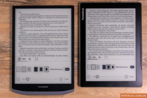 Vergleich Displaygröße Inkpad X (links) und Inkpad Lite (rechts)